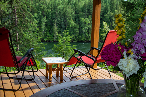 River house deck overlooking the Clearwater River